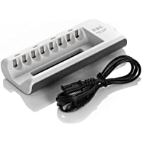 EBL 8 Bay/Slot Smart AA, AAA Ni-MH Ni-CD Rechargeable Battery Charger - Upgraded ETL Certified