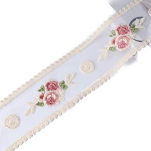 Sourcemall Lace Trim Ribbon, Delicate Cotton Embroidery Ribbon for Wedding/Bridal Decoration, DIY Craft Sewing, Home Decoration, 10 Yards (red Flower)