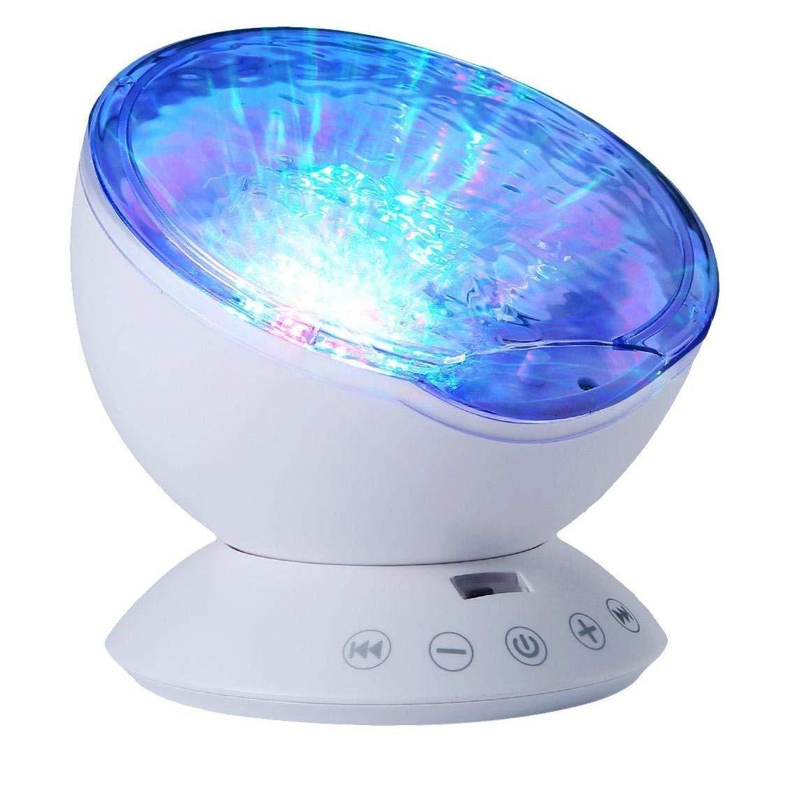 LgoodL Ocean Night Light USB Wave Light Rotating Projector Lamp and  Bluetooth Speaker, 12 LED