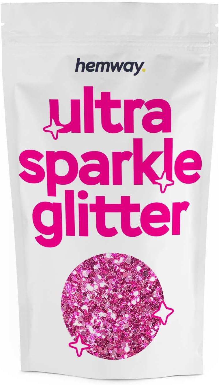 Hemway Unicorn Light Pink Mix Glitter Chunky Multi Purpose Dust Powder Arts & Crafts Wine Glass Decoration Weddings Flowers Cosmetic Face Eye Body Nails Skin Hair Festival 100g