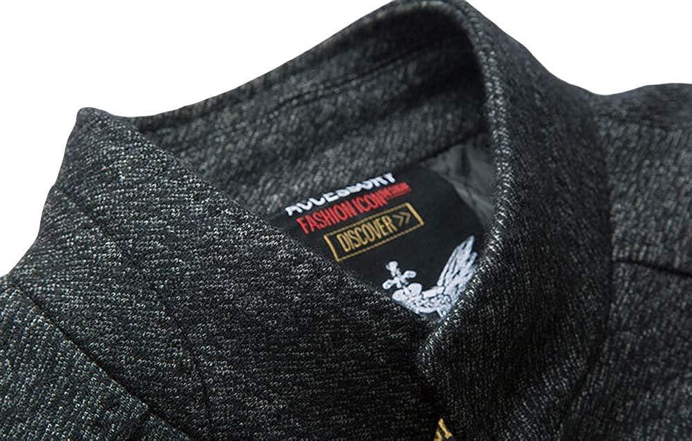 Liveinu Mens Wool Coat Slim Fit Trench Coat Business Long Pea Coat Overcoat Winter Jacket
