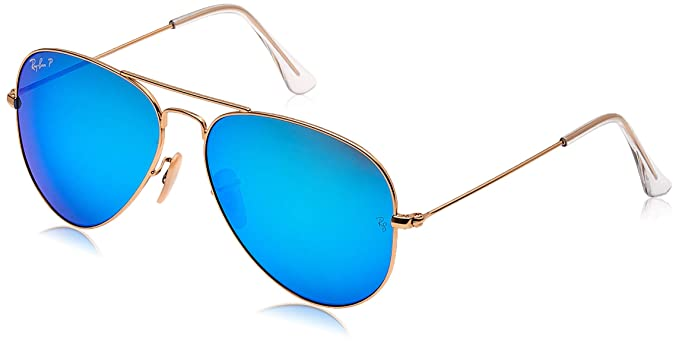 Ray-Ban Aviator Large Metal, Gafas de sol para Hombre, Dorado (Blue Flash), 58
