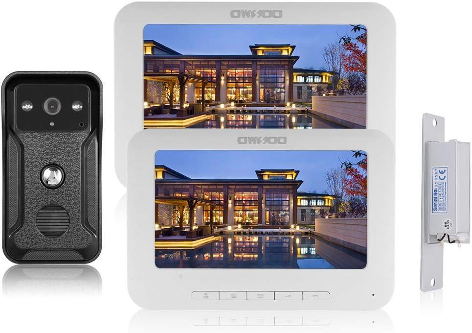 OWSOO 7 Pulgadas Videoportero, 2 Monitor Interior + 1 Cámara Exterior + Cerradura de Puerta Intercomunicador Soporte Audio Bidireccional, Visión Nocturna, Desbloqueo Remoto, Impermeable