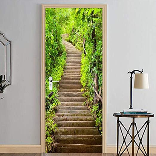Pegatinas de puerta en 3D pequeñas escaleras de piedra ...