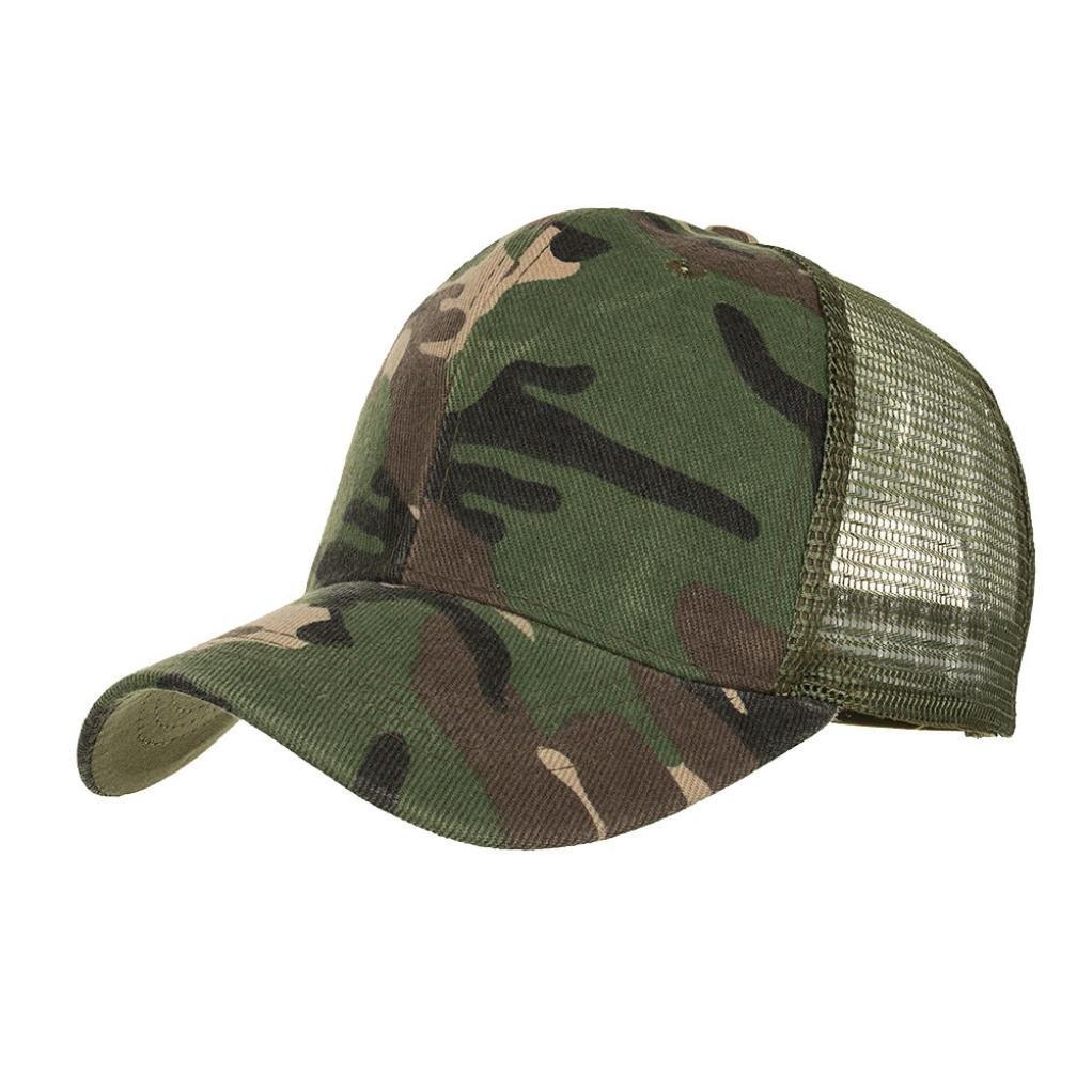 Sunyastor Summer Cap Camouflage Mesh Hats for Men Women Casual Hats Hip Hop High Bun Ponytail Adjustable Baseball Caps (Army Green, One Size)