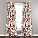 "red patterned curtains  Poppy Garden Curtains Room Darkening Window Panel Set for Living, Dining, Bedroom (Pair), 84"" L, Multi"