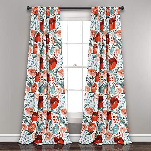 """Poppy Garden Curtains Room Darkening Window Panel Set for Living, Dining, Bedroom (Pair), 84"""" L, Multi"""