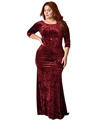 Unique Vintage Plus Size Vintage Style Burgundy Crushed Velvet