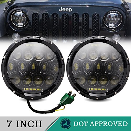 TURBOSII DOT Approved Pair 75W 7″Inch Round LED Headlights with White DRL Hi/Lo Beam For Jeep Wrangler CJ-5 CJ-7 1997-2017 TJ LJ JK JKU Rubicon Sahara Hummer H1 H2 Toyota Land Cruiser Dodge Dakota