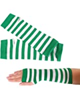 St. Patrick's Day Green and White Striped Pair of Arm Warmers