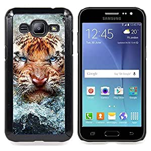"Qstar Arte & diseño plástico duro Fundas Cover Cubre Hard Case Cover para Samsung Galaxy J2 / J200 (Angry Tiger Cat agua Naturaleza Animal"")"