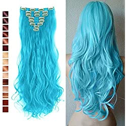 "Full Head Clip in Hair Extensions 8 Pcs 18 Clips Straight Curly 2016 Xmas Gift (24"" Curly, Sky Blue)"