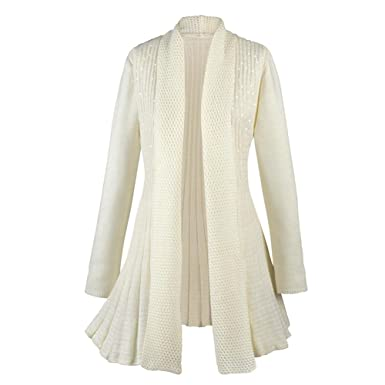 Shimmering Sequin Cream Cardigan Sweater Coat - Open Front - Small ...