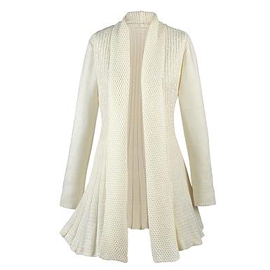 Women&39s Shimmering Sequin Cream Cardigan Sweater Coat - Open Front