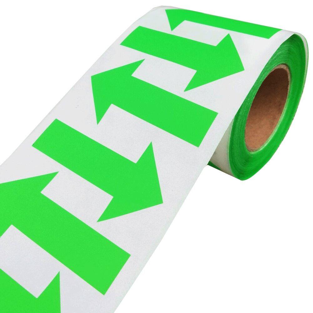 緑色の矢印ラベルステッカー、矢印サイン自己粘着ラベル、2