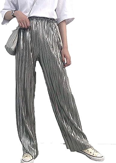Pantalones De Moda Para Mujer 2019 Con Pliegues De Cintura Alta Harajuku Elasticos Para Verano Ropa De Pierna Ancha Amazon Es Ropa Y Accesorios