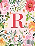 R: Monogram Initial R Notebook for Women, Girls and School, Pink Floral 8.5 x 11