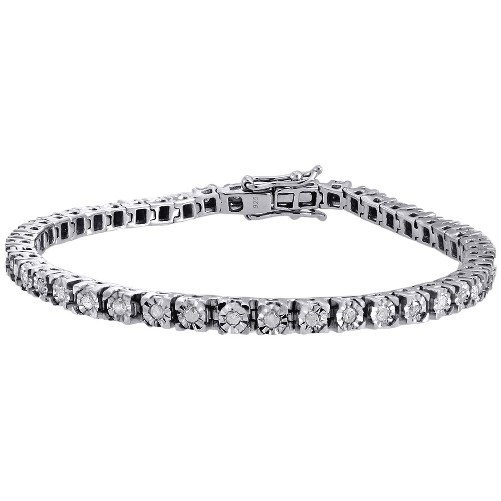 .925 Sterling Silver Round Cut Diamond Fanook Set Ladies Link Tennis Bracelet 1 Cttw