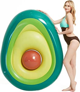 Kurala Inflatable Avocado Pool Float with Ball, Summer Pool Party Water Toys, Fun Inflatable Float for Adults and Kids