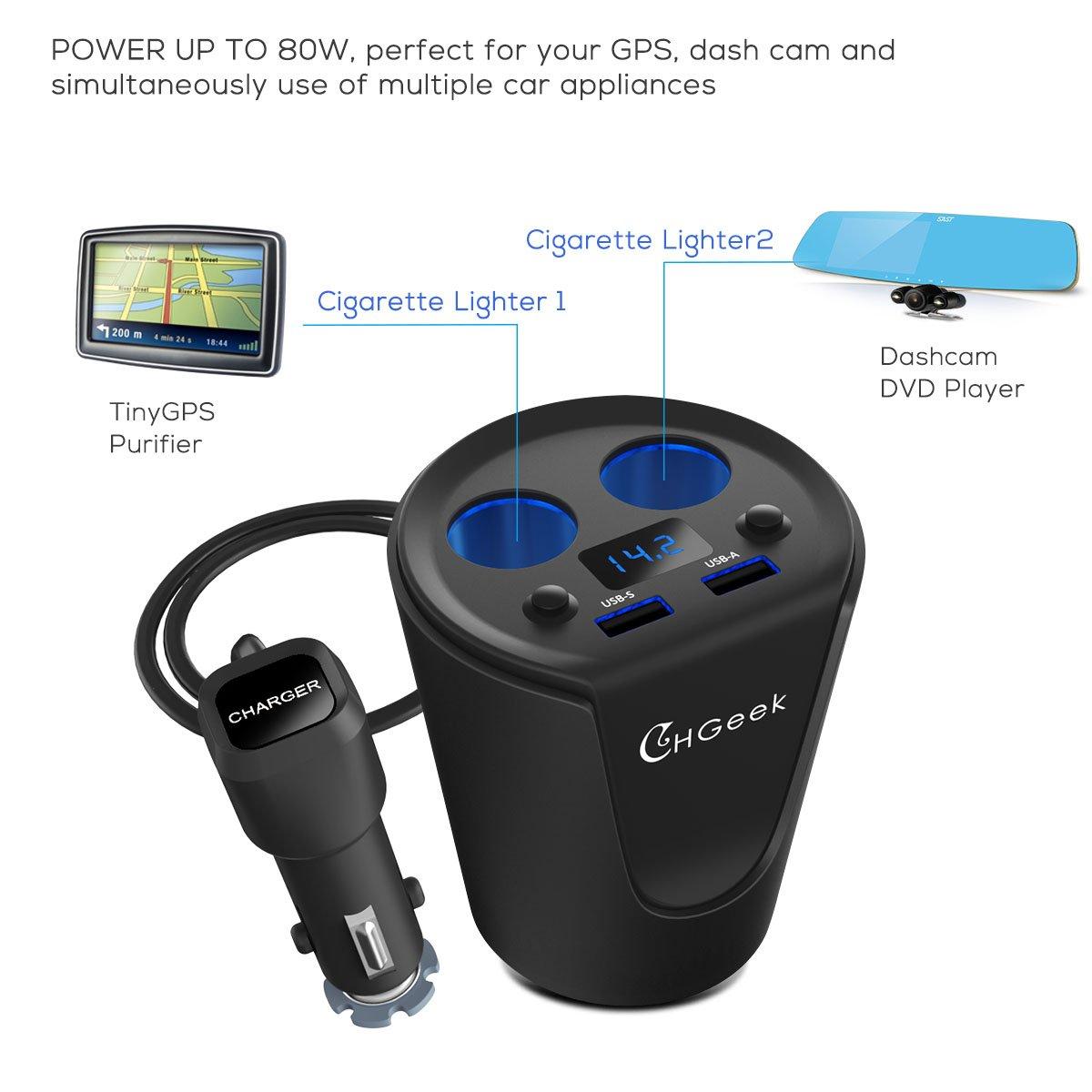Tablets und Mehr CHGeek Auto Zigarettenanz/ünder Auto Ladeger/ät 80W 12V//24V 3.1A Dual USB KFZ Ladeger/ät Multi-Funktion Auto Adapter mit 2 Fach Auto Zigarettenanz/ünder Verteiler Ladeger/ät f/ür GPS
