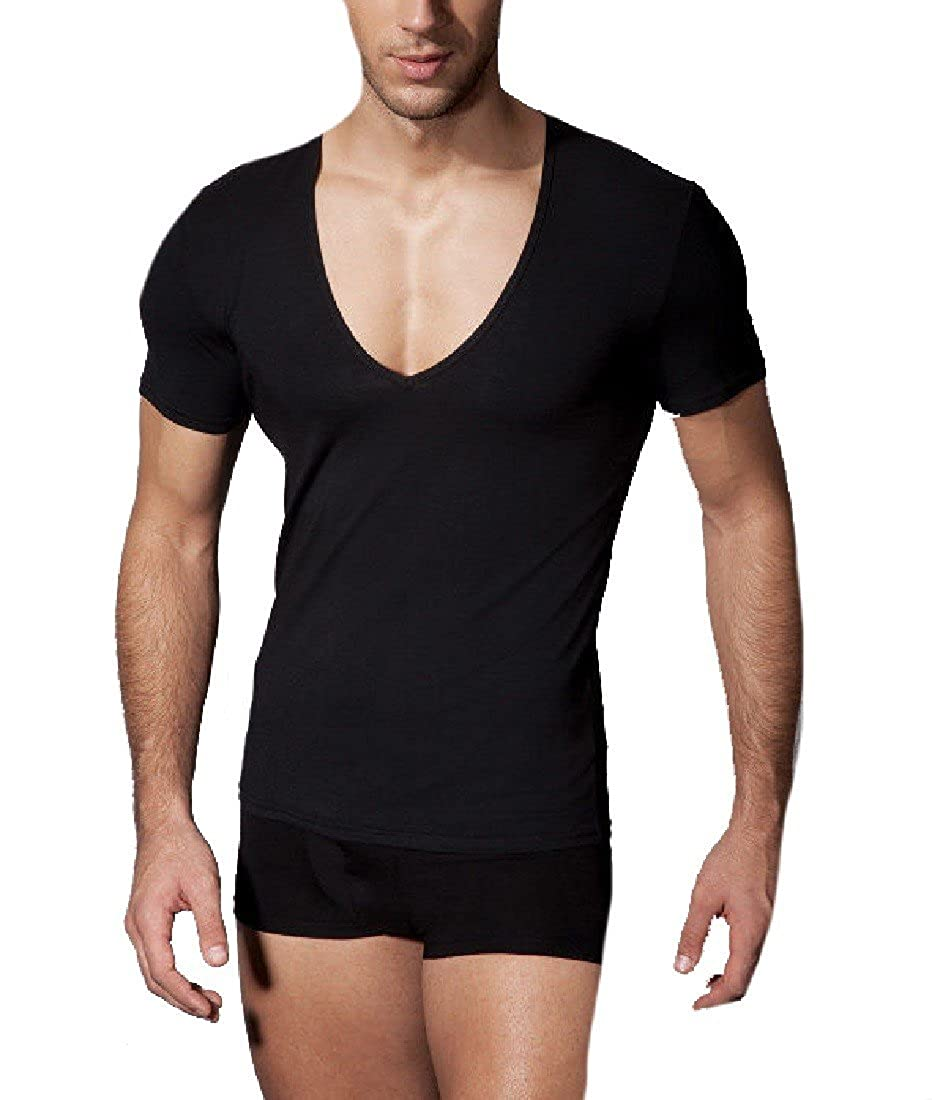 YUNY Men s Short Sleeve V Neck Solid-Colored Sexy Workout Shirts T-Shirt  3371edd69