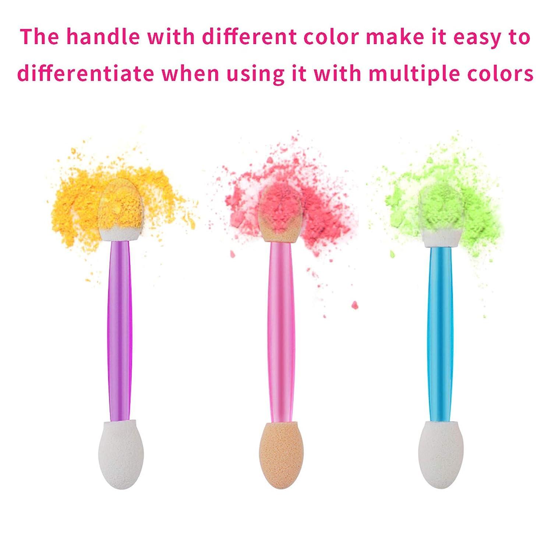 Cuttte 60PCS Disposable Dual Sides Eye Shadow Sponge Applicators, 3 Colors Eyeshadow Brushes Makeup Applicator (Pink, Purple, Blue): Beauty