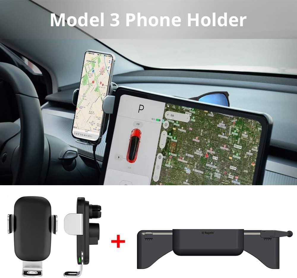 Tesla Model 3 Accesorios Cargador inalámbrico Soporte para teléfono Celular Consola Central Soporte para teléfono Celular Bolsillo 3 en 1 Soporte para teléfono Soporte para Gafas de Sol