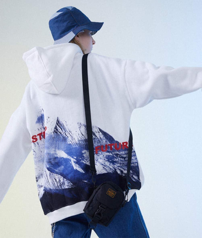 Men's Fashion Hoodies Long Sleeve Pullover Hooded Street Printing Loose Big Yards Coat Jacket Tide White