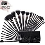 Makeup Brushes Set, 24pcs of Eyebrow Brush,Eyeshadow Brush, Foundation Brush, Blush Brush, Concealer Brush, Eyelash Brush and Deluxe Fan Brush with Case