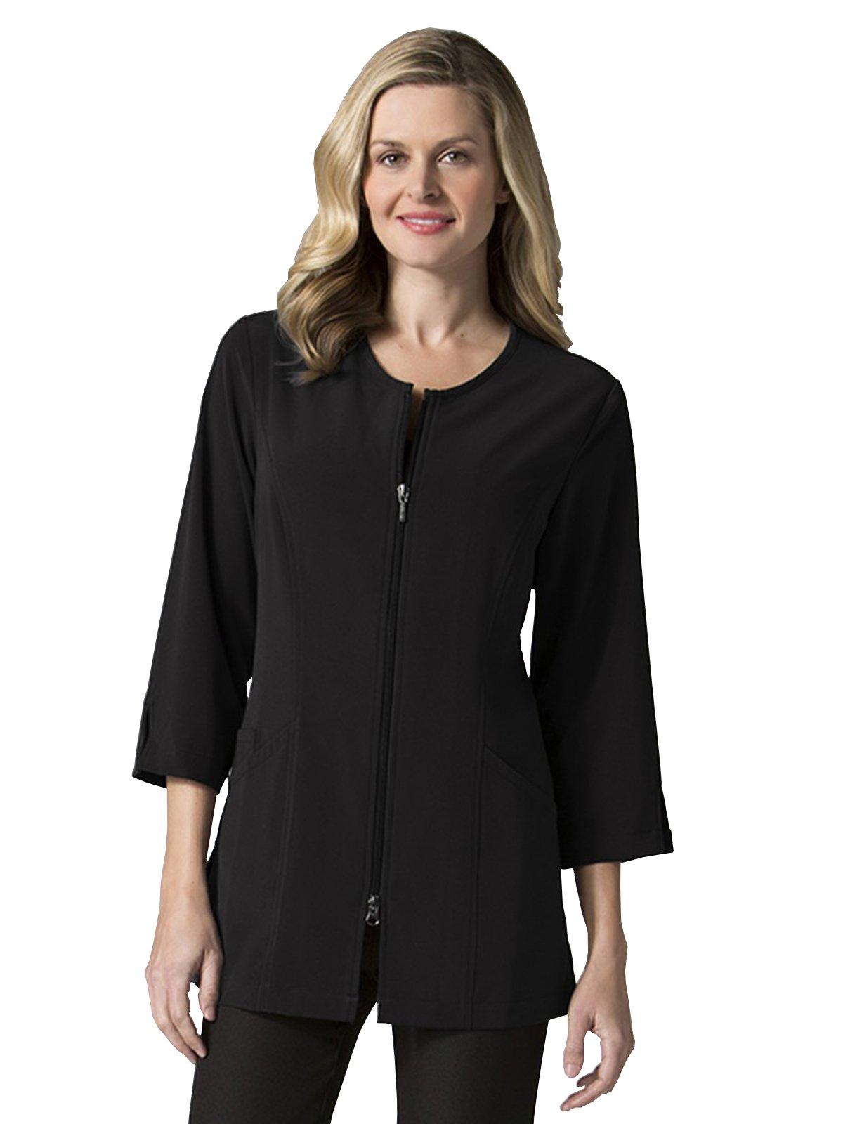 """Maevn Uniforms Smart Lab Coats - Ladies 3/4"""" Sleeve Lab Jacket (Small, Black)"""