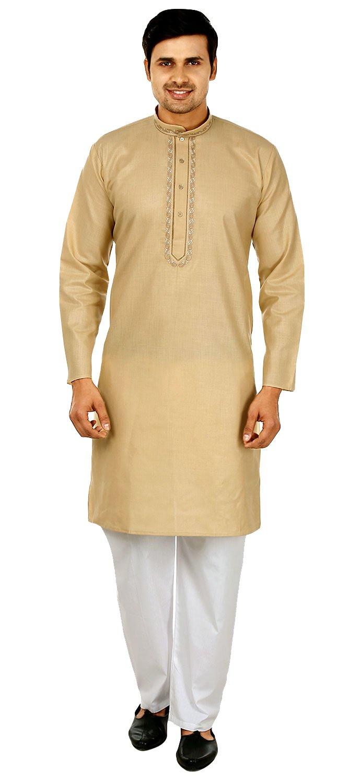Silk Cotton Embroidered Mens Kurta Pajama India Clothing (Gold, XL)