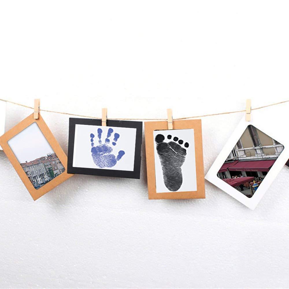 Druckkarten Ungiftig Inkless Babyhaut kommt nicht mit Farbe in Ber/ührung Schwarz//Rosa Taufe Geschenk f/ür Neugeborene Stempelkissen Baby Fu/ß- oder Hand-Abdruck Set mit Papier-Bilderrahmen