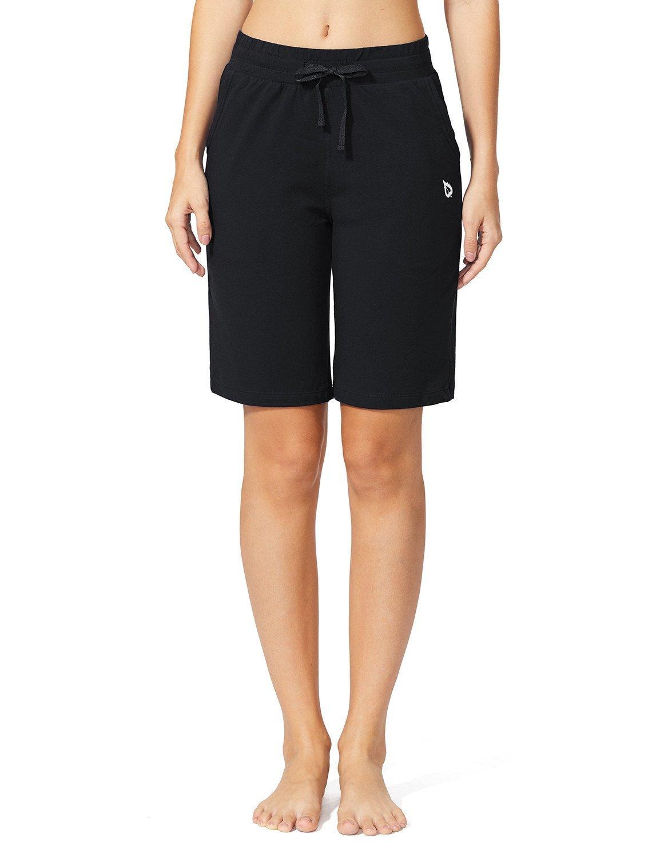 Baleaf Women's Active Yoga Lounge Bermuda Shorts with Pockets Black Size L by Baleaf (Image #3)