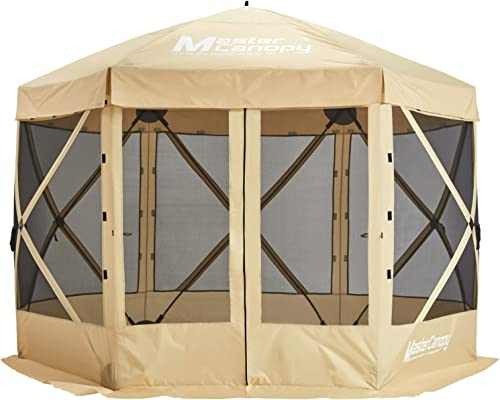 MASTERCANOPY Escape Shelter, 6-Sided Canopy Portable Pop up Canopy Durable Screen Tent Bug and Rain Protection 6-8 Person ,Beige
