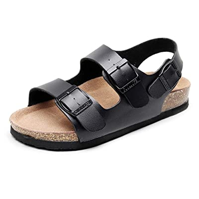 GUOLUOFEI Men's Leather Cork Sandals Couple Sandals Casual Beach Flat Sandlas Adjustable Buckles Shoes | Sandals