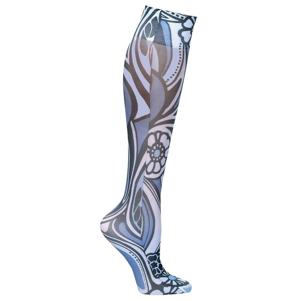 Women's Wide Calf Printed Moderate Compression Knee Highs - Blue/Black Swirl