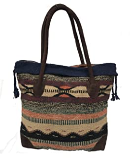 efce4452fb Monterrey Ladies Tote Purse Handwoven Southwestern Aztec Print Suede Handles
