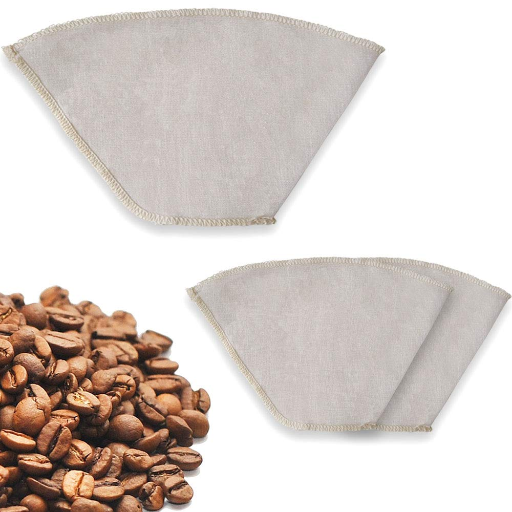 Earthtopia 3 Pack Reusable Cloth Coffee Filters | 100% Hemp | Eco-Friendly Cone Coffee Filter for Brewer and Pour Over | Permanent Filters (3 Pack, Size 2)