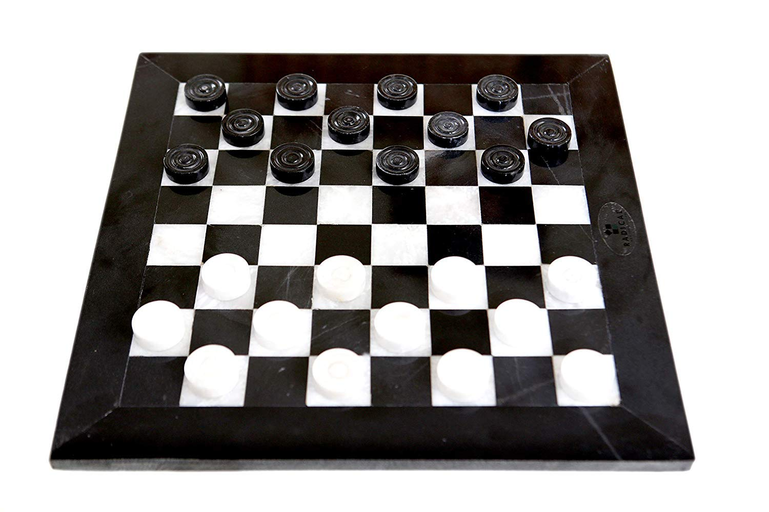 Black /& Coral Radicaln Checkers Chess Game 12 Inches Black and Coral Handmade Marble 2 Player Draughts Coffee Checker Game Set For Kids-Non Chinese Non Plastic-Square Table Chess Checker Board Game