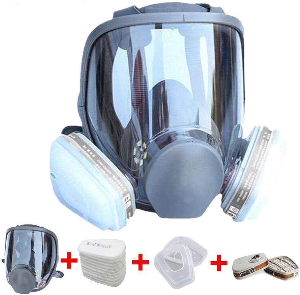 MXUS Anti-Gas Máscara De La Máscara De Cara Completa + No. 8 Caja del Filtro A Prueba De Polvo De Pulverización Pintura Especial Amoniaco Lucha contra El Fuego Químico