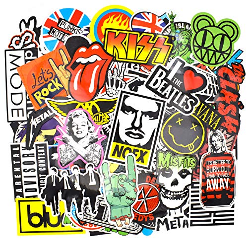 Riao-Tech 100pcs Vintage Stickers Laptop Guitar Travel Case Band Rock Roll World Tour Stickers Waterproof (Vintage E)