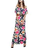 LadyCaca Fashion impressão de slash neck vestido longo fora do ombro vestidos de verão mulheres casuais
