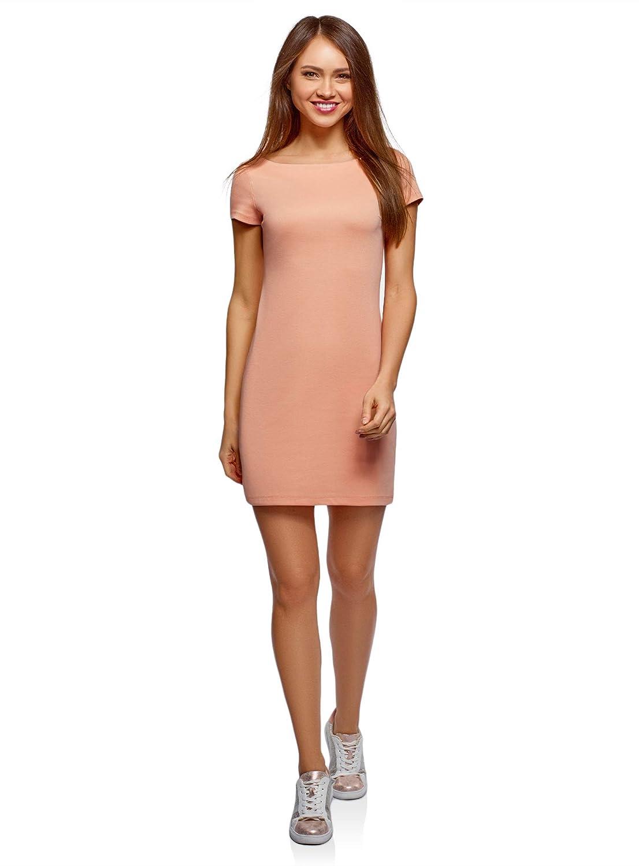oodji Ultra Mujer Vestido de Punto con Escote Barco, Rosa, ES 34 ...