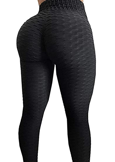 8529aa6bc AGROSTE Women s High Waist Yoga Pants Tummy Control Workout Ruched Butt  Lifting Stretchy Leggings Textured Booty