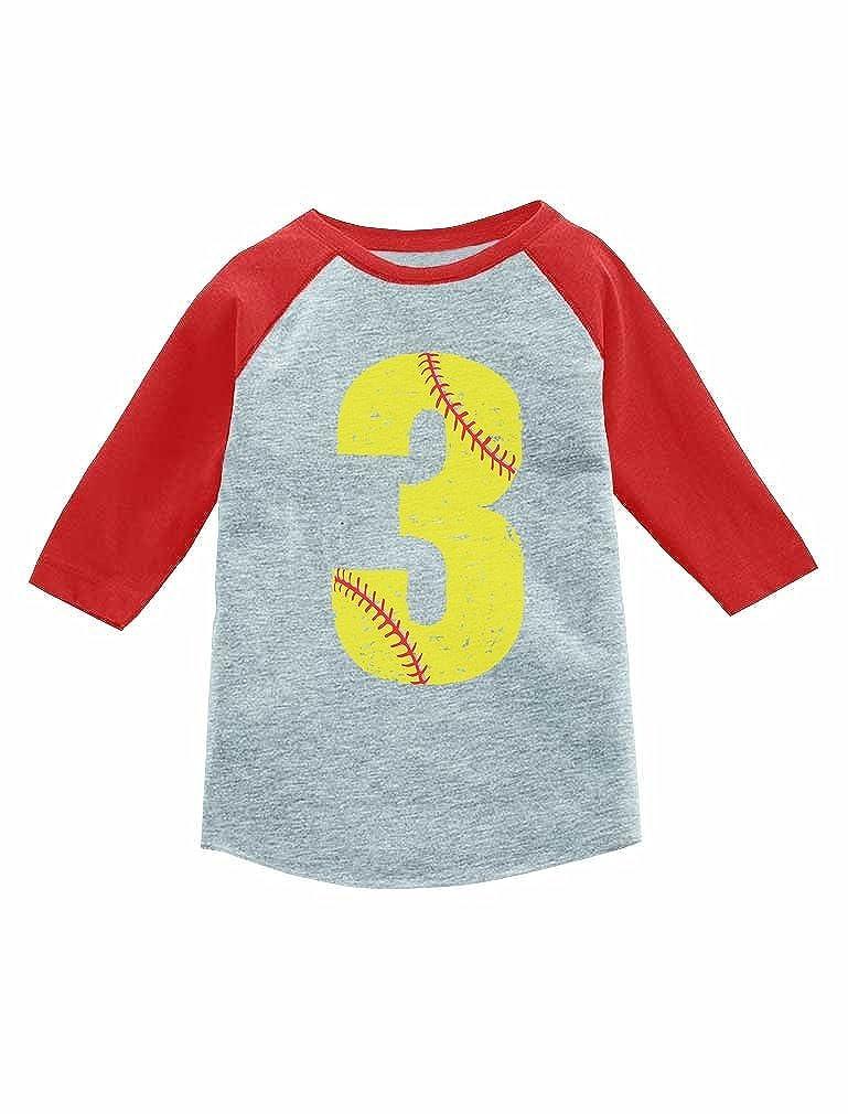 Amazon Tstars 3 Year Old Softball 3rd Birthday Gift 4 Sleeve Baseball Jersey Toddler Shirt Clothing