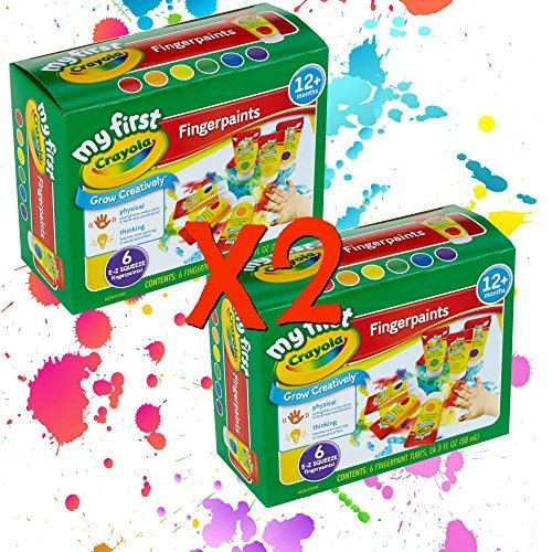(Crayola Washable Finger Paint Easy Squeeze Bottles Family Fun For All Ages Set Of 2 (12 3 OZ Bottles 2 of each color))