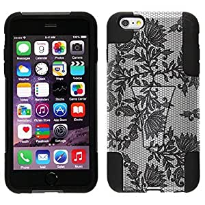 Trek Hybrid Stand Case for Apple iphone 5 5s - Black Leaves Lace on White WANGJING JINDA