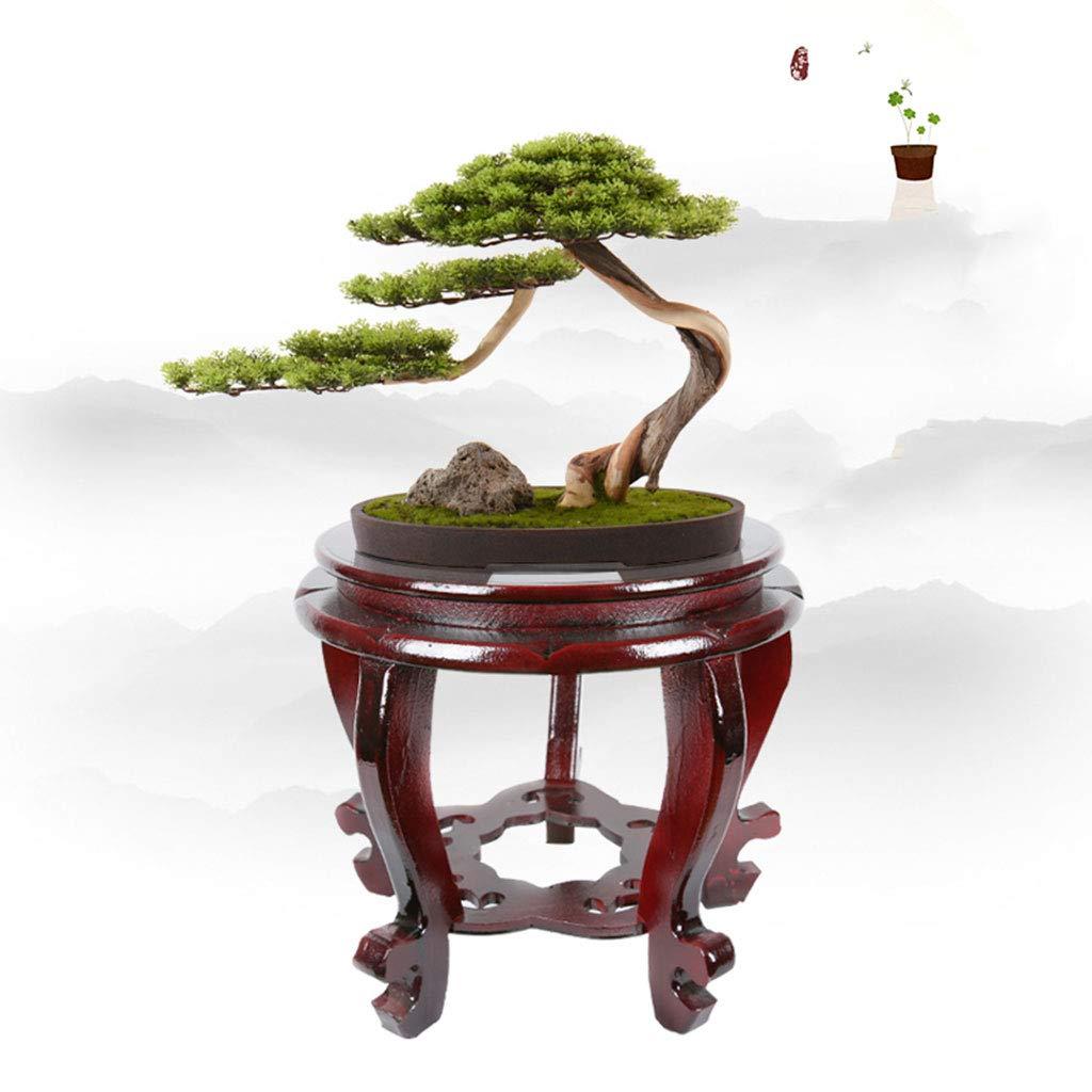 JXJJD Vaso da Fiori rossoondo Vaso Bonsai Fiore Stand Cinese Classica Struttura in Legno massello di Alta qualità Strano Telaio in Pietra Cornice di Pesce
