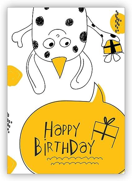 Carte D Anniversaire Drole Avec Un Petit Monstre Et Un Cadeau Non Seulement Pour Les Enfants Happy Birthday Avec Enveloppe Amazon Fr Fournitures De Bureau