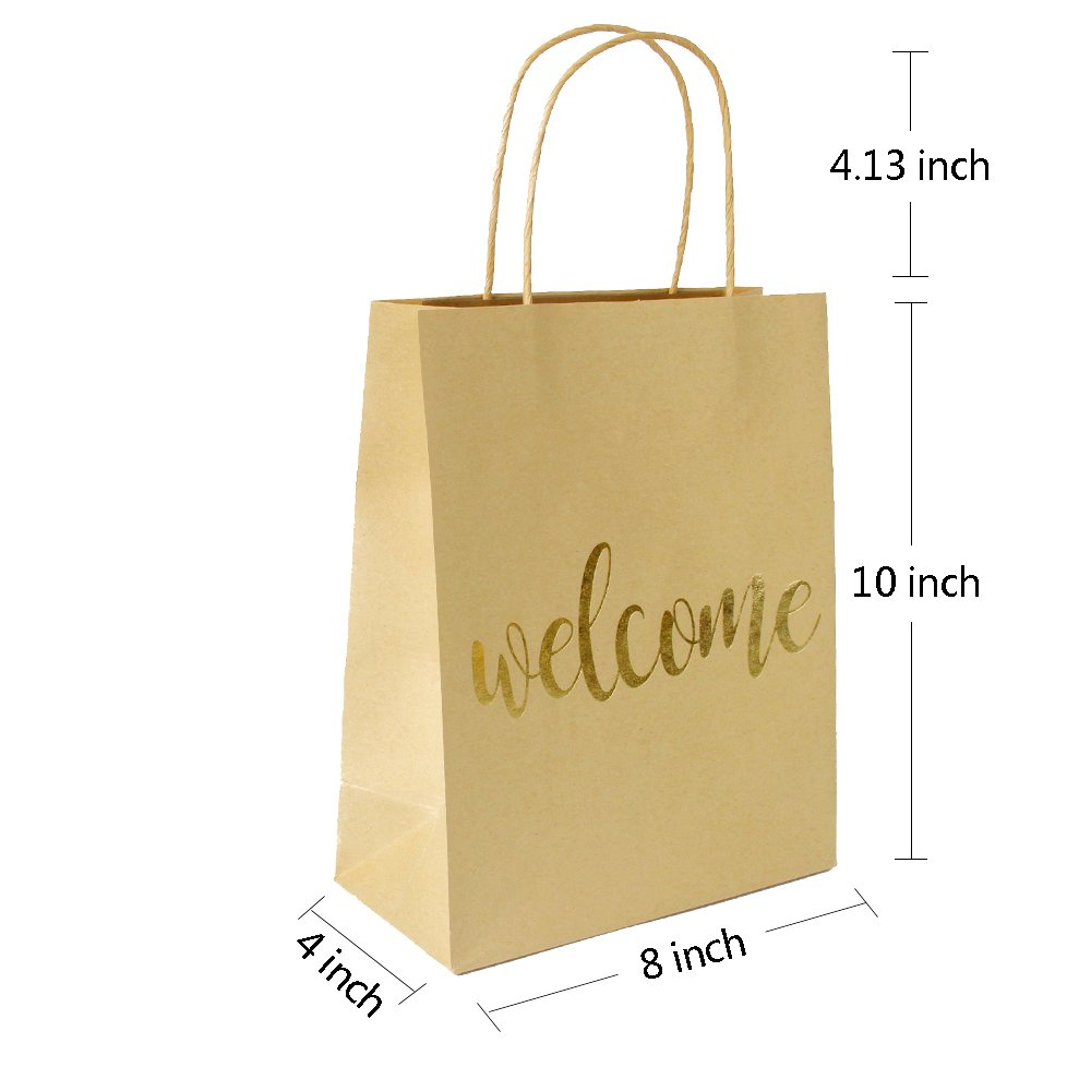 LaRibbon Medium Welcome Gift Bags - Gold Foil Brown Paper Bags with Handles for Wedding, Birthday, Baby Shower, Party Favors - 12 Pack - 8'' x 4'' x 10'' by LaRibbons (Image #5)